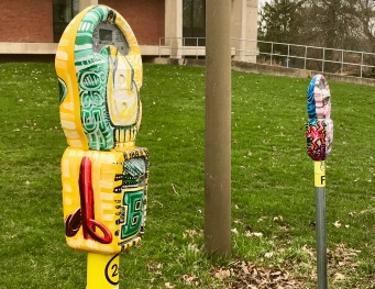 Painted Parking meter ouside Tower Fine Arts Building
